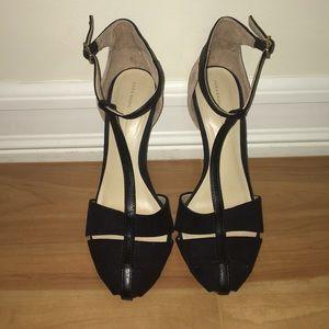 Zara women's nude and black caged toe heel
